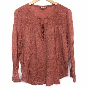 LUCKY BRAND Orange Geometric Boho Tie Popover Top